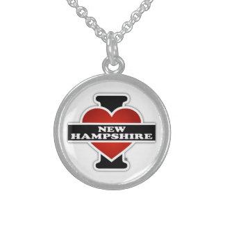 I Heart New Hampshire Round Pendant Necklace