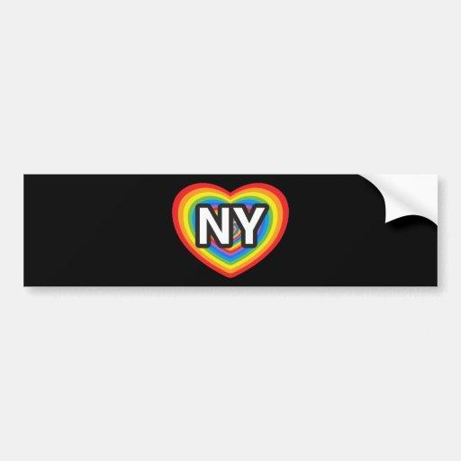 I heart New York. I love New York. NYC rainbow Bumper Sticker