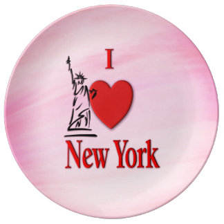 I Heart New York Pink Porcelain Plate