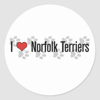 I (heart) Norfolk Terriers Classic Round Sticker