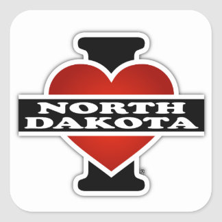 I Heart North Dakota Square Sticker