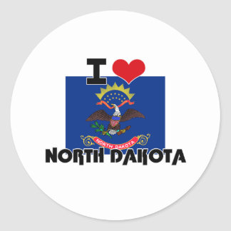 I HEART NORTH DAKOTA ROUND STICKERS