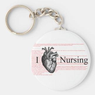 I Heart Nursing Basic Round Button Key Ring