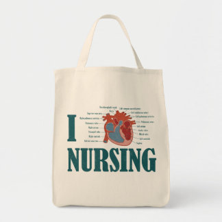 I Heart NURSING Grocery Tote Bag