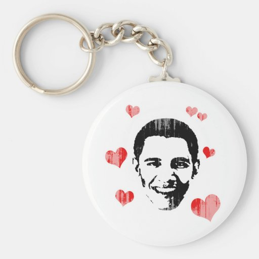 I Heart Obama Vintage.png Basic Round Button Key Ring