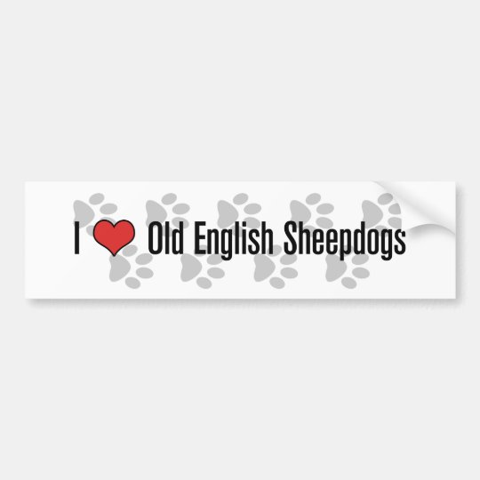 I (heart) Old English Sheepdogs Bumper Sticker