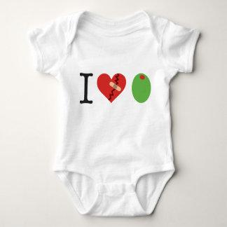 i heart olive white) baby bodysuit