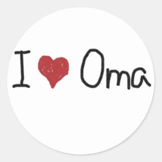 I heart Oma Round Sticker