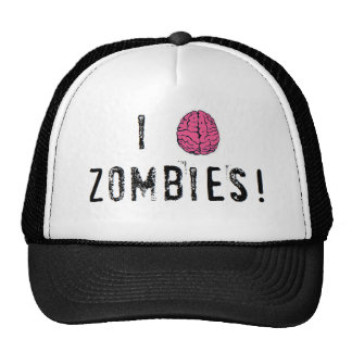 I heart or brain Zombies Mesh Hats