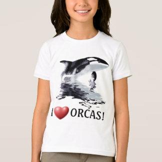 I HEART ORCAS Kids Ringer Shirt