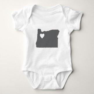 I Heart Oregon Grunge Look Outline State Love Baby Bodysuit