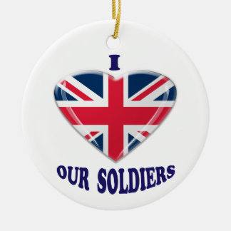 I Heart our UK Soldiers Round Ceramic Decoration