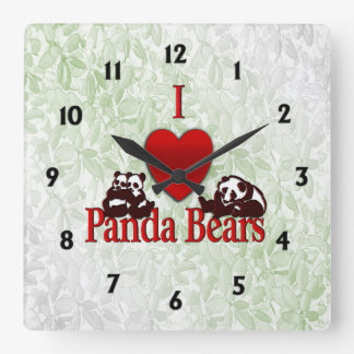 I Heart Panda Bears Fun Leaves Square Wall Clock