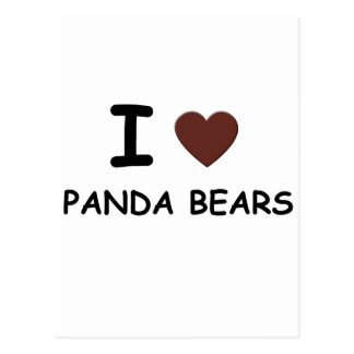 I HEART PANDA BEARS POSTCARDS