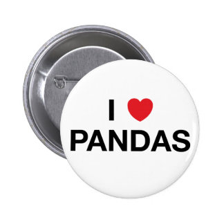 I HEART PANDAS Badge Pin