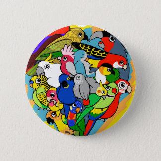 I heart parrots cute cartoon 6 cm round badge