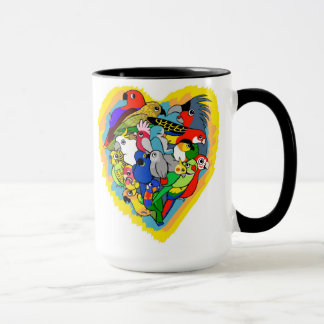 I heart parrots cute cartoon mug
