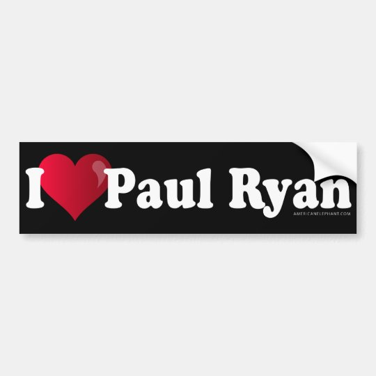 I Heart Paul Ryan Bumper Sticker -Black