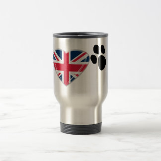 I Heart Paw Prints with 3D Union Jack Heart Design Travel Mug