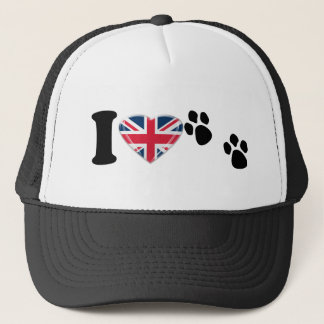 I Heart Paw Prints with 3D Union Jack Heart Design Trucker Hat