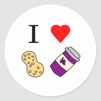 I heart Peanut Butter and Jelly Classic Round Sticker