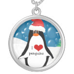 I Heart Penguin Christmas Necklace