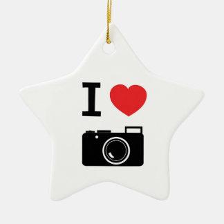 I HEART PHOTOGRAPHY CERAMIC STAR DECORATION