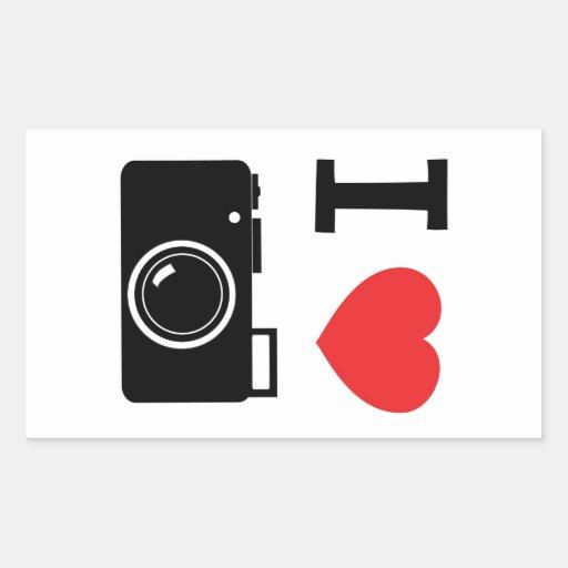 I HEART PHOTOGRAPHY RECTANGLE STICKER