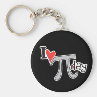 I heart Pi Day Basic Round Button Key Ring