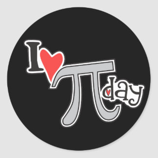 I heart Pi Day Classic Round Sticker