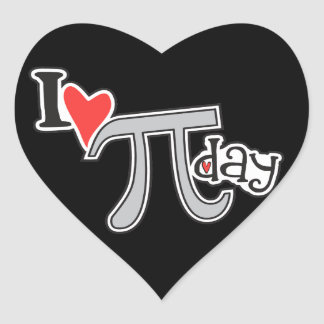 I heart Pi Day Heart Sticker