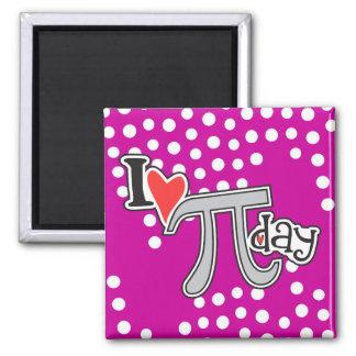 I heart Pi Day Hot Pink Fridge Magnets