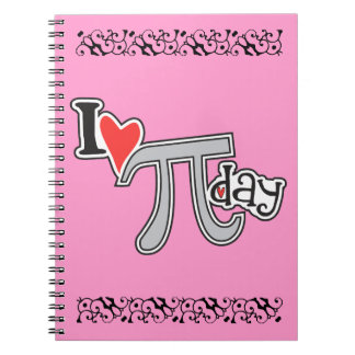 I heart Pi Day PINK Spiral Note Book