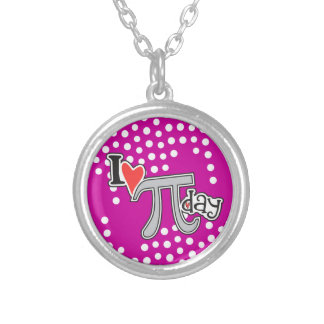 I heart Pi Day Round Pendant Necklace