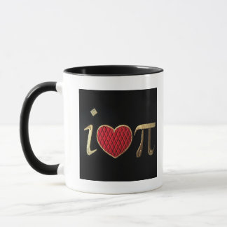 """I heart pi,"" i luv pi with Red & Gold Embroidery Mug"