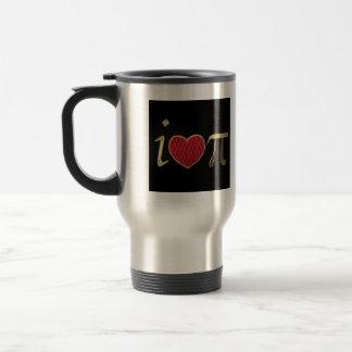 """I heart pi,"" i luv pi with Red & Gold Embroidery Travel Mug"