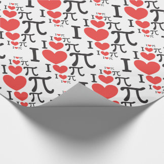 I heart Pi Wrapping Paper Pi Day Gift Wrap