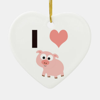 I heart pigs christmas ornament