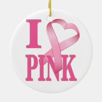 I Heart Pink Cancer Ribbon 2 Christmas Ornaments