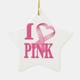I Heart Pink Cancer Ribbon Christmas Tree Ornaments