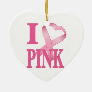 I Heart Pink Cancer Ribbon Christmas Ornaments