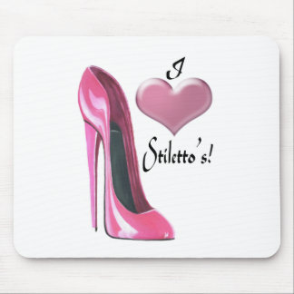 I Heart Pink Stiletto Shoe Art Mouse Mat