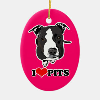 I HEART PITS (PIT BULLS) - 2 SIDED ORNAMENT
