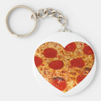 I Heart Pizza Basic Round Button Key Ring