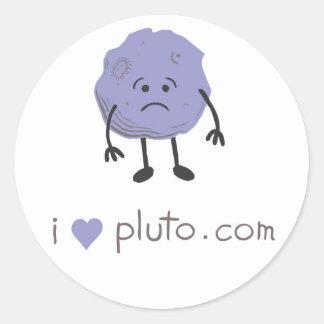 i heart pluto.com classic round sticker