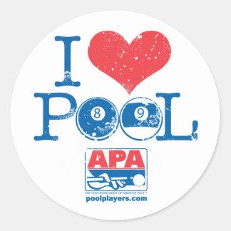 I Heart Pool Classic Round Sticker