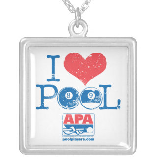 I Heart Pool Silver Plated Necklace