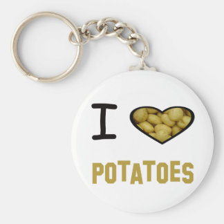 I Heart Potatoes Basic Round Button Key Ring