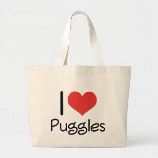 I Heart Puggles Large Tote Bag