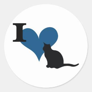 I Heart Pussy Cat Classic Round Sticker